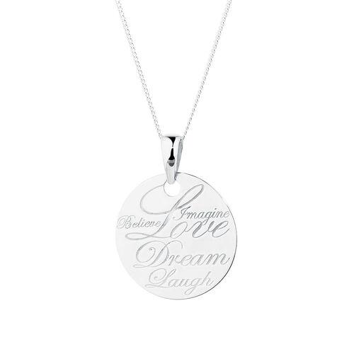 Love, Dream, Laugh' Pendant in Sterling Silver