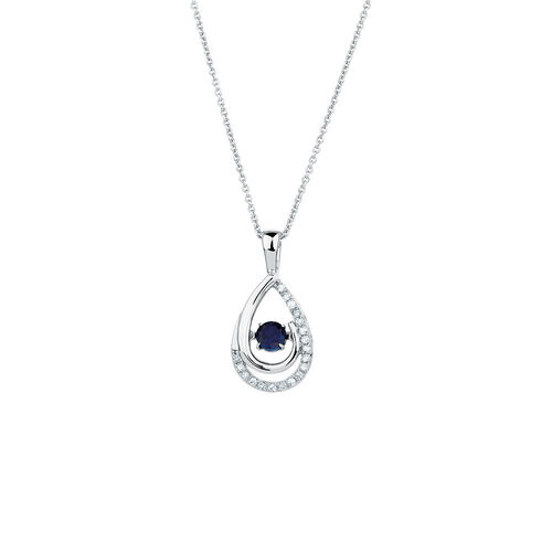 Online Exclusive - Everlight Pendant with Created Sapphire & Diamonds in Sterling Silver