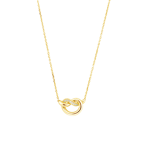 Mini Knots Necklace with Diamonds in 10ct Yellow Gold