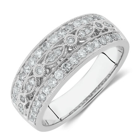 Fancy Ring with 0.50 Carat TW of Diamonds in 10ct White Gold