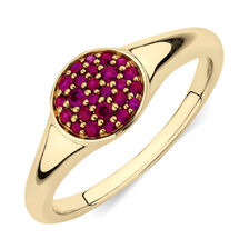 Pave Ring with Created Ruby in 10ct Yellow Gold