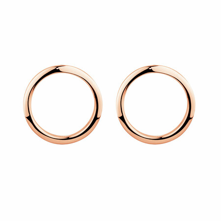 Open Circle Stud Earrings in 10ct Rose Gold