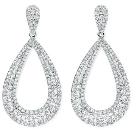 Drop Earrings with 2 Carat TW of Diamonds in 14ct White Gold