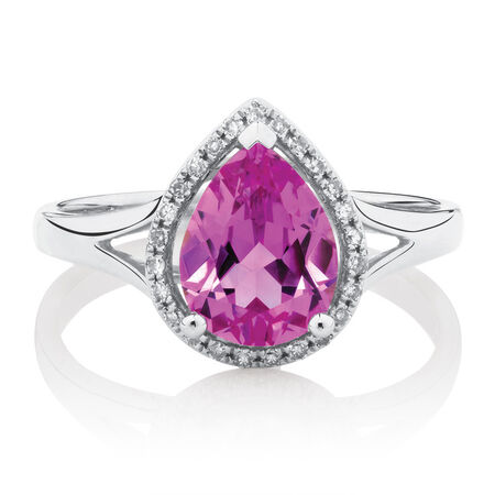 Ring with Created Pink Sapphire & Diamonds in 10ct White Gold