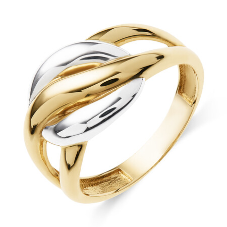 Knot Ring in 10ct Yellow & White Gold