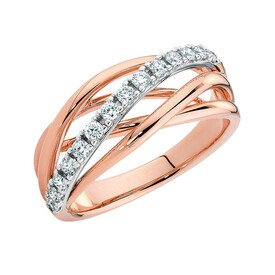 Ring with 1/3 Carat of Diamonds in 10ct White & Rose Gold