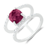 Double Row Ring with Burgandy Crystal & Cubic Zirconia in Sterling Silver