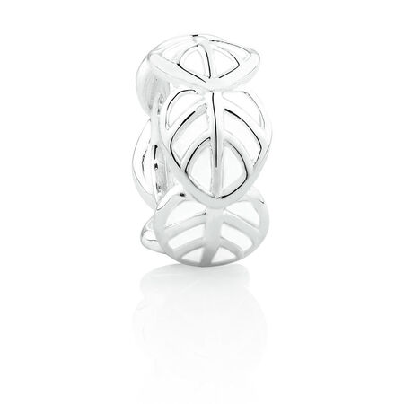 Leaf Spacer with White Enamel in Sterling Silver