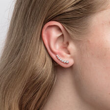 Ear Climbers with Cubic Zirconia in Sterling Silver