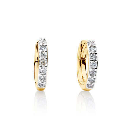Mini Hoop Earrings with Diamonds in 10ct Yellow Gold