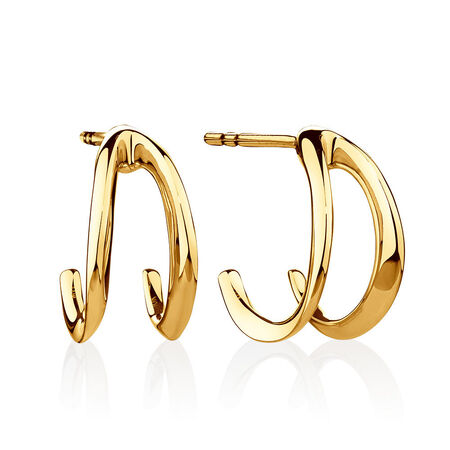 Small Mark Hill Huggie Earrings in 10ct Yellow Gold