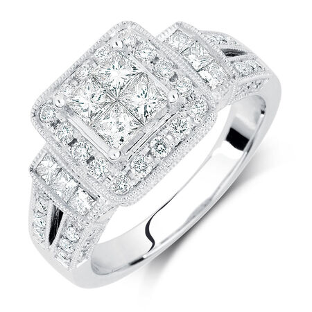 Online Exclusive - Engagement Ring with 1.37 Carat TW of Diamonds in 14ct White Gold