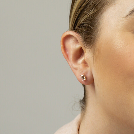 Stud Earrings with Created Pink Sapphire in 10ct Yellow Gold