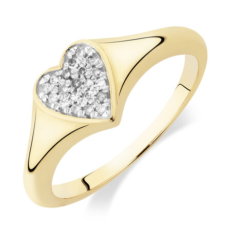 Heart Pave Ring with Diamonds in 10ct Yellow Gold
