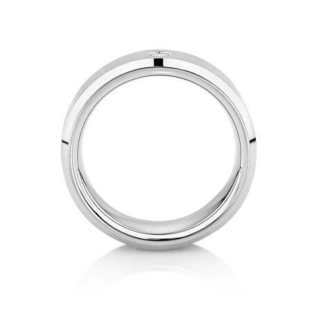 8mm Men's Diamond Set Ring in Grey Tungsten