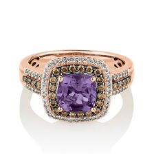 Ring with 0.50 Carat TW White & Brown Diamonds & Amethyst in 14ct Rose Gold