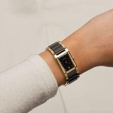 Ladies Watch in Black Ceramic & Gold Tone Stainless Steel