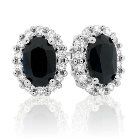 Stud Earrings with Sapphire & 0.19 Carat TW of Diamonds in 10ct White Gold