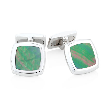 Square Mother of Pearl Cuff Links in Sterling Silver