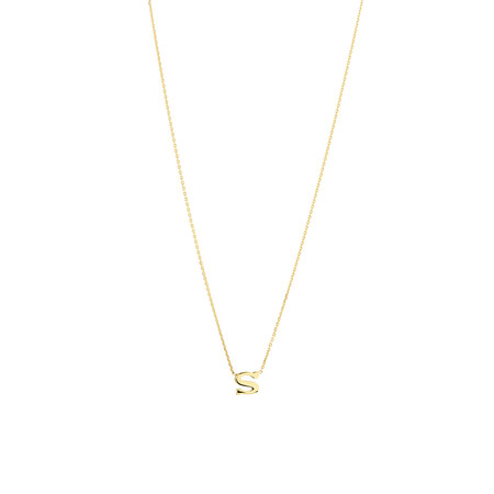 """""""S"""" Initial Necklace in 10ct Yellow Gold"""