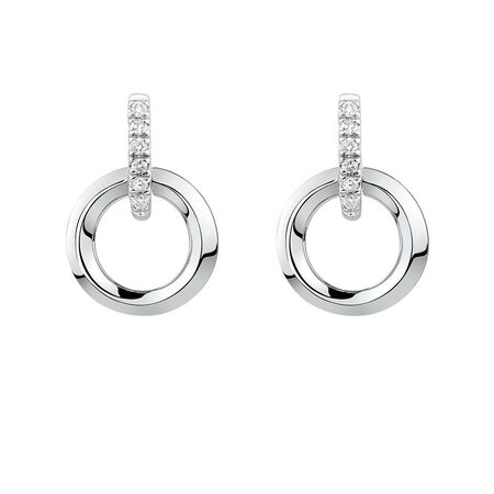 Circle Drop Earrings with Diamonds in Sterling Silver