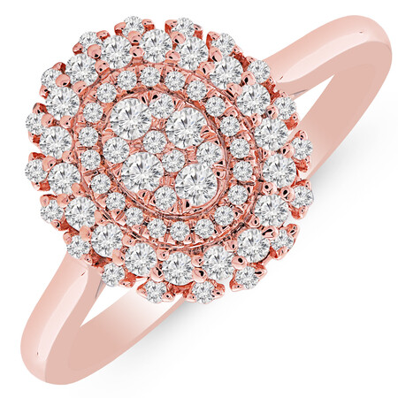 Cluster Ring with 1/2 Carat TW of Diamonds in 10ct Rose Gold