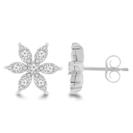 Flower Stud Earrings with 0.60 Carat TW Of Diamonds in 10ct White Gold