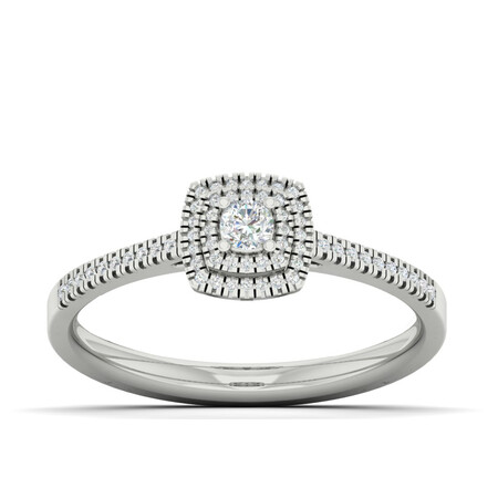 Ring with 0.20 Carat TW of Diamonds in 10ct White Gold
