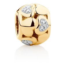 Diamond Set Heart Pattern Charm in 10ct Yellow Gold
