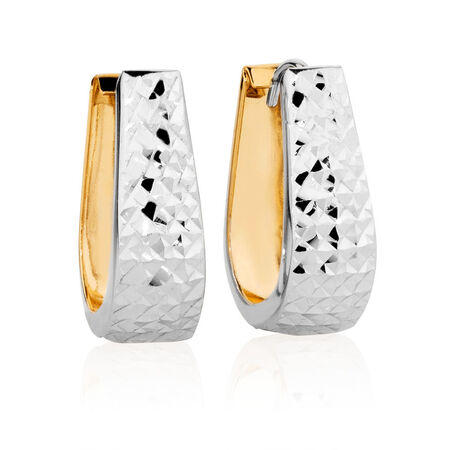 Hoop Earrings in 14ct Yellow & White Gold
