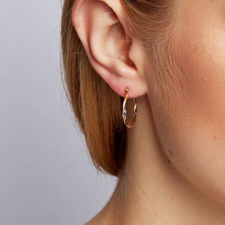 Hoop Earrings in 10ct Yellow & White Gold