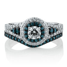 Online Exclusive - Bridal Set with 0.95 Carat TW of Enhanced Blue & White Diamonds in 14ct White Gold
