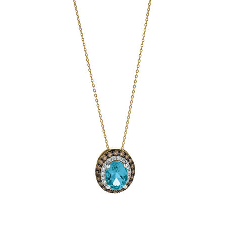 Pendant with 0.42 Carat TW of White & Brown Diamonds & Blue Topaz in 10ct Yellow Gold
