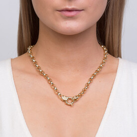 "45cm (18"") Diamond Set Solid Belcher Chain in 10ct Yellow Gold"
