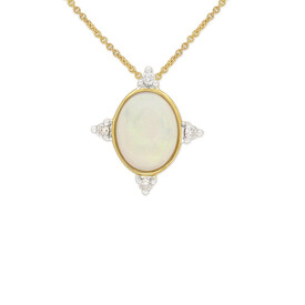 Pendant with Opal and Diamond in 10ct Yellow Gold