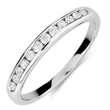 Wedding Band with 1/4 Carat TW of Diamonds in 10ct White Gold