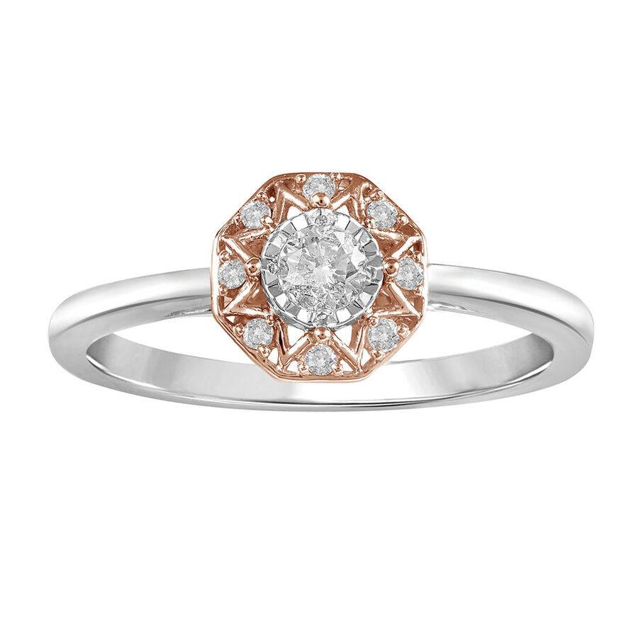 Ring with 0.20 Carat TW of Diamonds in 10ct Rose & White Gold