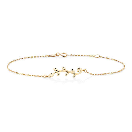 "19cm (7.5"") Olive Leaf Bracelet in 10ct Yellow Gold"