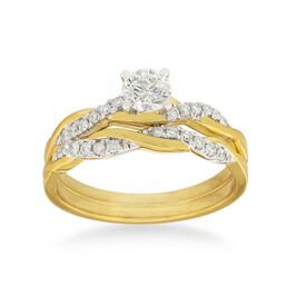 Bridal Set with 0.60 Carat TW of Diamonds in 14ct Yellow & White Gold