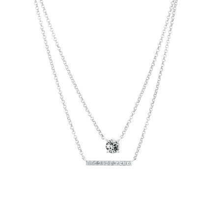 Layered Bar & Solitaire Necklace with Create White Sapphire in Sterling Silver