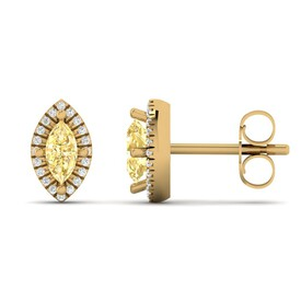 Earring with Diamond & Natural Citrine in 10ct Yellow Gold