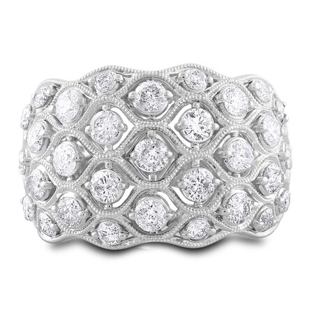 Ring with 1.50 Carat TW of Diamonds in 14ct White Gold
