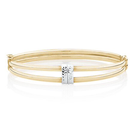 Diamond Cut Oval Hinge Bangle in 10ct Yellow & White Gold