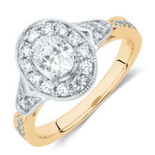 Sir Michael Hill Designer GrandAmoroso Engagement Ring with 1 Carat TW of Diamonds in 14ct White, Yellow & Rose Gold
