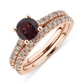 Bridal Set with 0.69 Carat TW of Diamonds & Rhodolite Garnet in 14ct Rose Gold