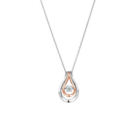 Everlight Pendant with a Diamond in 10ct Rose Gold & Sterling Silver | Tuggl