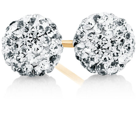 Stud Earrings with Crystal in 10ct Yellow Gold