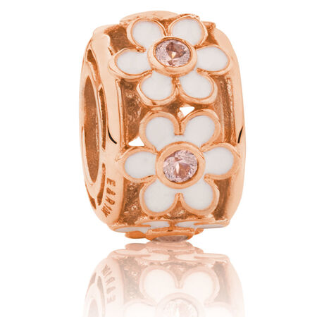 Daisy Charm with Pink Crystal & White Enamel in 10ct Rose Gold & Sterling Silver
