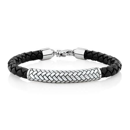 Patterned Bracelet In Black Leather & Sterling Silver