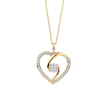 Heart Pendant with 0.20 Carat TW of Diamonds in 10ct Yellow Gold